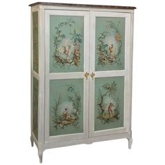 19th Century French Chinoiserie Painted Armoire or Cabinet with Faux Marble Top