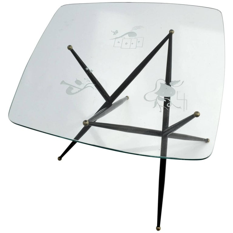 Italian Etched Glass Top Coffee Table on Black Metal Leg For Sale