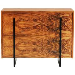 Copper Tone Commode in Olive Wood and Black Iron by Cristina Jorge De Carvalho