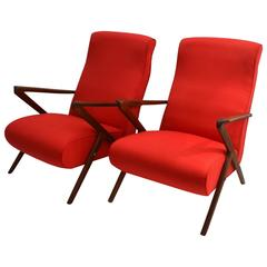 1950s Pair of Red Italian Lounge Chairs, Mahogany Frame with Pronounced Armrests