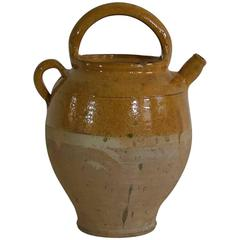 19th Century French Glazed Terracotta Jug or Water Cruche