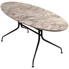 1950s Italian Oval Marble Coffee Table on Black Metal Frame
