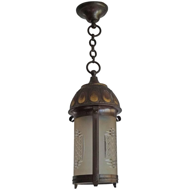 Early 20th Century Art Nouveau Brass and Cut Glass Pendant Lamp or Lantern