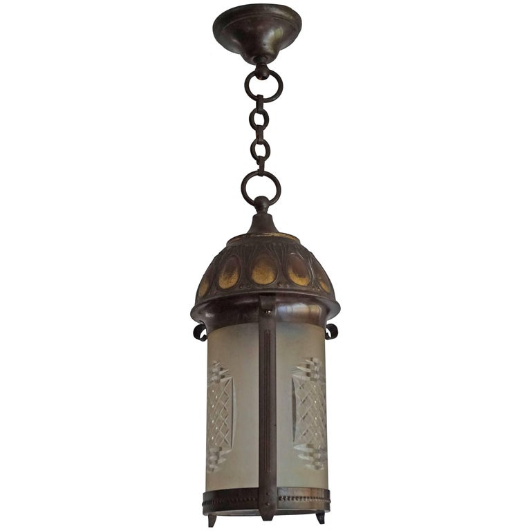 Early 20th Century Art Nouveau Brass and Cut Glass Pendant Lamp or Lantern For Sale