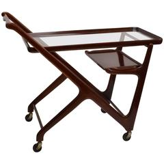1950s Mahogany Cesare Lacca Cocktail Trolley for Cassina