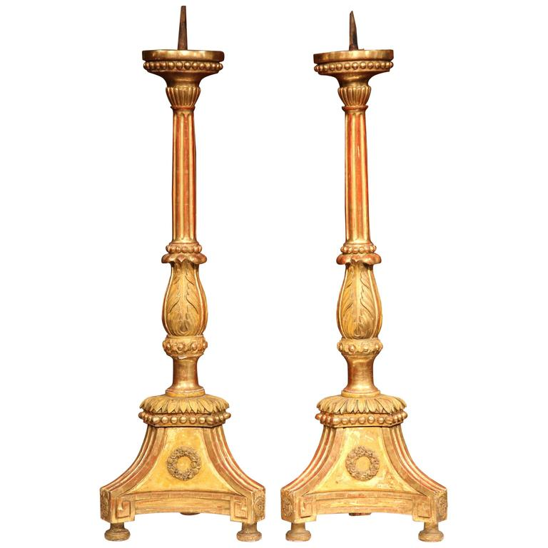 Important Pair of 19th Century Italian Carved Gilt Wood Prickets Altar Sticks