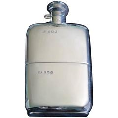 Solid Silver Hall Marked Hip Flask and Cup, Date 1935
