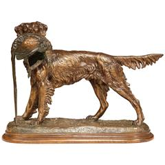 19th Century French Patinated Spelter Hunting Dog with Bird Signed Moigniez
