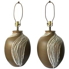 Mid-Century Modern Lava Glazed Abstract Ceramic Table Lamps, Pair