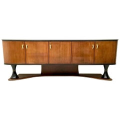 Majestic Turned Wood and Ebonized Wood Sideboard, Italy, 1950s