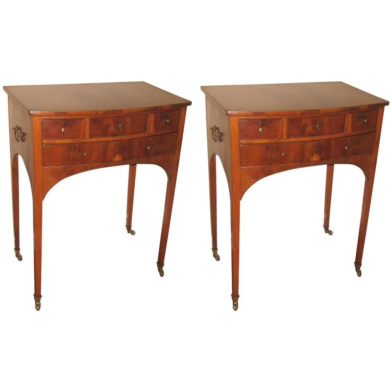 Pair of 19th Century Flame Mahogany End/Bedside Tables 1