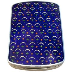 Lovely Solid Austrian Silver Enamel Compact Case