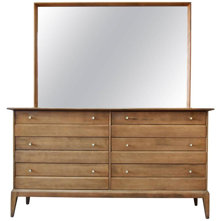 Heywood Wakefield Mid-Century Cadence Six-Drawer Dresser with Mirror, 1957