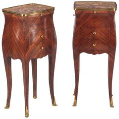 Pair of Louis XV Style Rosewood and Marble-Top Side Cabinets, 1900s
