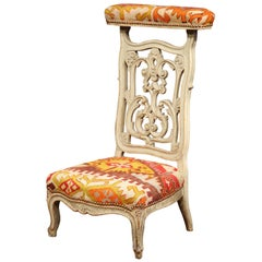 19th Century French Carved and Painted Prayer Chair with Antique Kilim Tapestry