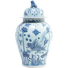 Monumental Chinese Blue and White Koi Ginger Jar