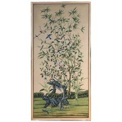 Chinoiserie Hand-Painted Silk Wallpaper Style Panel