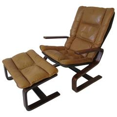 Ingmar Relling Danish Styled Leather Lounge Chair and Ottoman by Westnofa
