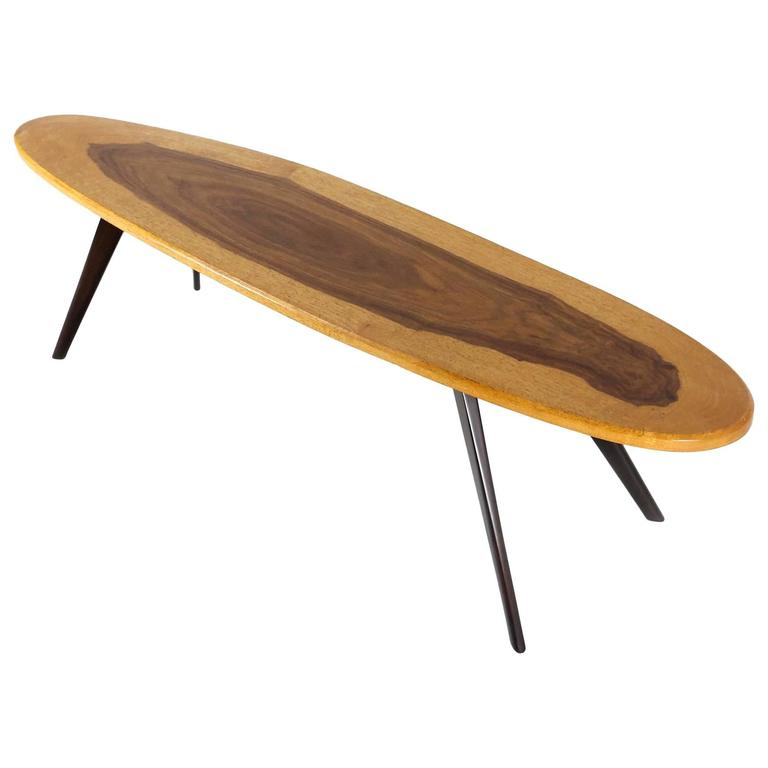 Vintage Italian Surfboard Coffee Table in Solid Walnut and Rosewood, 1960s