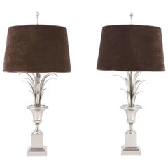 Pair of French Palm Tree Lamps Attributed to Maison Jansen, 1970