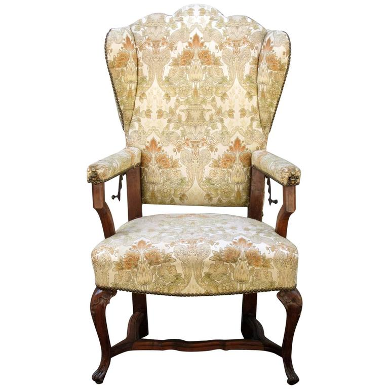 18th Century French Provincial Wingback Upholstered Reclining Chair