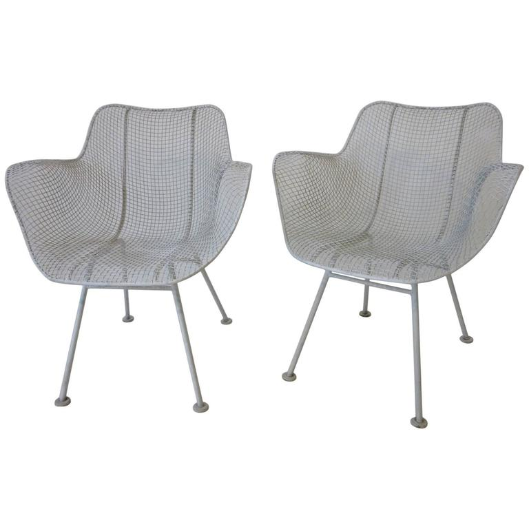 Russell Woodard Sculptura Welded Wire Armchairs in the Style of Eames