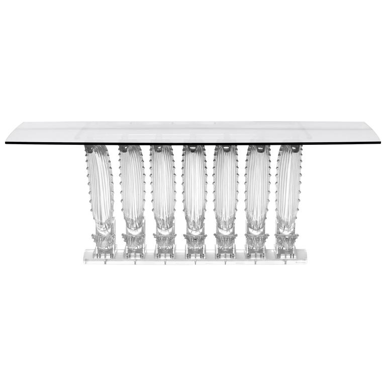 Lalique Rectangular Crystal Cactus Table For Sale