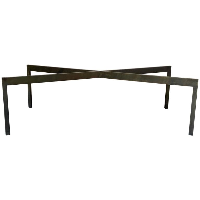 Bronze Finish Steel X Base Coffee Table At 1stdibs