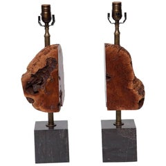 Pair of Burl Wood and Marble Lamps