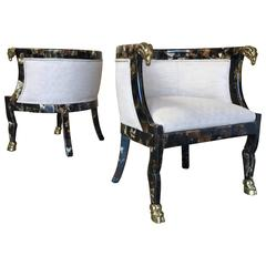 Pair of Steer Horn Covered Barrel Chairs with Brass Ram Heads