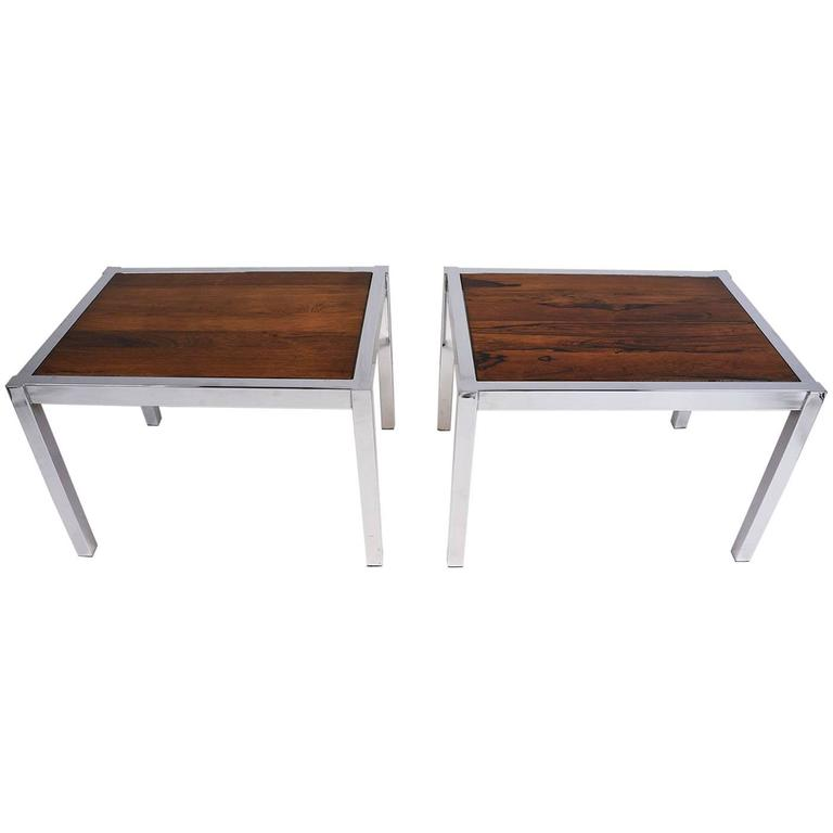 Pair of mid century modern chrome and wood side tables for