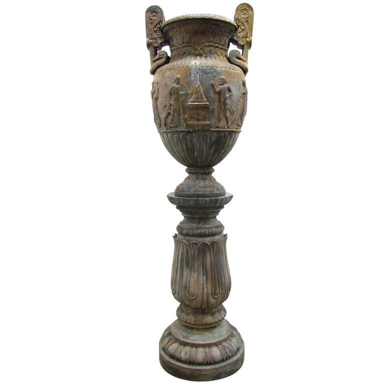 Neoclassical Bronze Urn on Pedestal