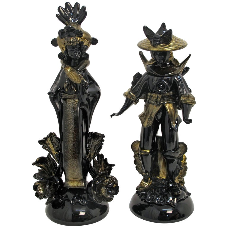 Pair of Barovier Murano Glass Moorish Figures  For Sale