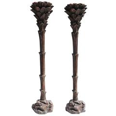 Bronzed Palm Tree Lamps in the Manner of Serge Roche