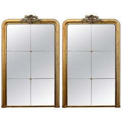 Antique French 19th Century Pair of Louis XV Mirrors