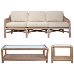 Signed McGuire Rattan Outdoor Patio Set with Sofa, Coffee Table and Side Table