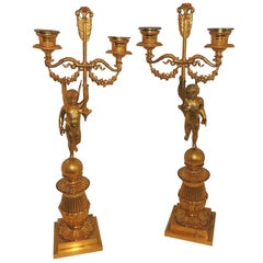 Wonderful Pair Dore Bronze Two-Arm Winged Putti Cherub Neoclassical Candelabras