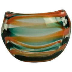 Glass Vase in Green, Orange and Clear Glass by Floris Meydam for Leerdam