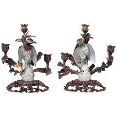 Pair of Antique Meissen Porcelain Woodpeckers, Now Mounted as Candelabra