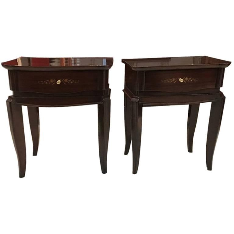 Pair of French Art Deco Mother-of-pearl Nightstands in the Style of Jules Leleu