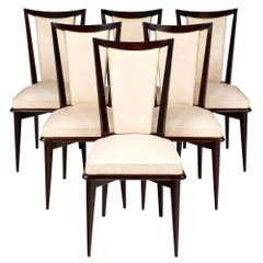 Set of Six Mid-Century Modern French Dining Chairs