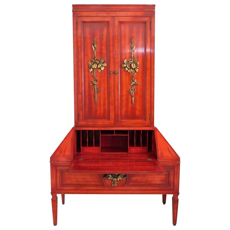 James Mont Cinnabar Lacquered Secretaire For Sale