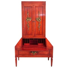 James Mont Cinnabar Lacquered Secretaire