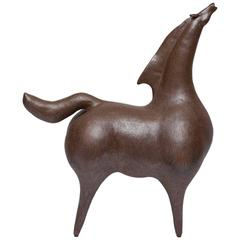 Monumental Stoneware Horse Sculpture in the Manner of Marino Marini