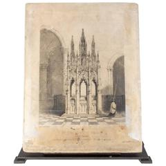 Original 19th Century French Lithographic Stone of the Tomb of Pope Innocent VI