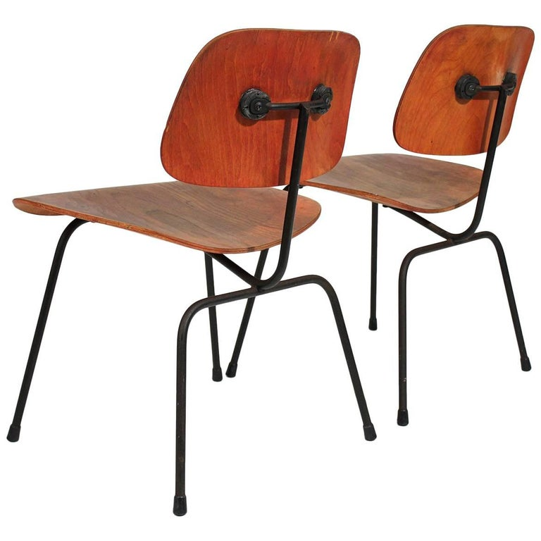 Early Charles Eames Herman Miller Aniline Red DCM Dining Chairs, Pair For Sale