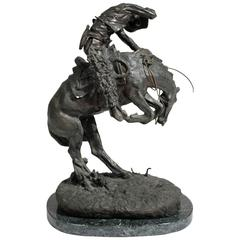 "Frederic Remington ""Rattlesnake"" Bronze Sculpture"
