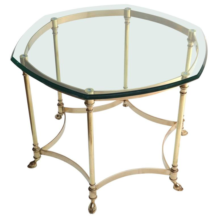 Hexagonal Brass Side Table with Glass Top and Goat Feet