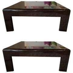 Pair of Luxe Custom-Made Modern Chocolate Lacquer Coffee Tables