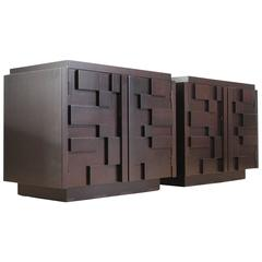 Pair of Lane Modern Brutalist Mosaic Nightstands
